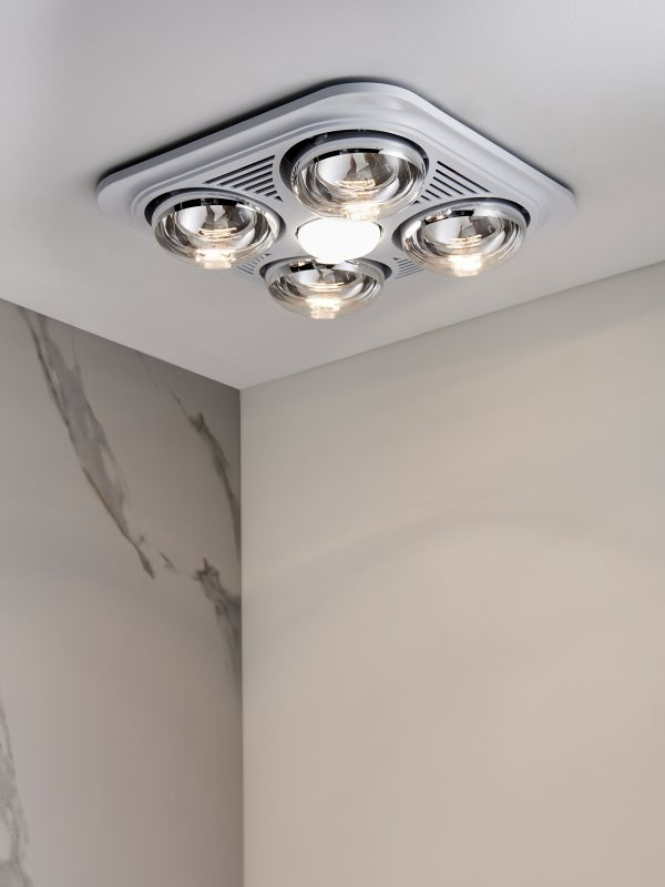 Thermalite 3 In 1 Bathroom Heater In White With 4x275w Heat Lamps Fans Beacon Lighting
