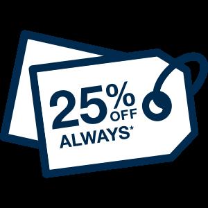 25% off Always